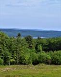 Het Keerpunt van het Quabbinreservoir, Gebied van de de Riviervallei van Quabbin het Vlugge van Massachusetts, Verenigde Staten,  stock afbeeldingen