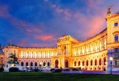 Het Keizerpaleis van Wenen Hofburg bij nacht, - Oostenrijk Stock Foto