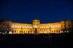 Het Keizerpaleis van Wenen Hofburg bij nacht, - Oostenrijk Royalty-vrije Stock Afbeeldingen