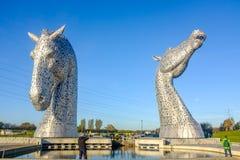 Het Kelpies-beeldhouwwerk door Andy Scott, Falkirk, Schotland Royalty-vrije Stock Foto