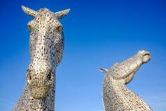 Het Kelpies-beeldhouwwerk door Andy Scott, Falkirk, Schotland Stock Foto