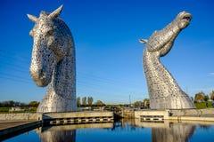 Het Kelpies-beeldhouwwerk door Andy Scott, Falkirk, Schotland Stock Afbeelding