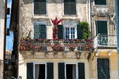 Het kenmerkende balkon van Korfu Stock Afbeeldingen