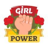 Het kenteken, het embleem of het pictogram van de meisjesmacht met hand en bloemen Royalty-vrije Stock Afbeelding
