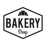 Het Kenteken/het Etiket van de bakkerijwinkel Zoete bakkerij, croissant royalty-vrije stock afbeelding