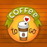 Het kenteken van de beeldverhaalkoffie. koffie vectorillustratie Stock Foto
