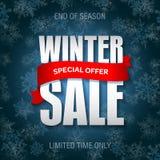 Het kenteken van de de winterverkoop, etiket, het malplaatje van de promobanner Speciale verkoopaanbieding Stock Foto's