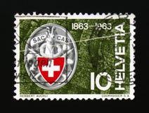 Het kenteken van de ZAKclub, Zwitserse alp-Club serie, circa 1963 Royalty-vrije Stock Afbeeldingen