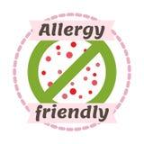 Het kenteken vectorillustratie van het allergie vriendschappelijke symbool Stock Foto's