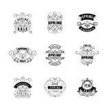 Het kentekenontwerp van de de lenteverkoop Sticker, zegel, met de hand gemaakt embleem - Met het gebruik van typografieelementen, royalty-vrije illustratie