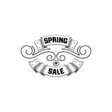 Het kentekenontwerp van de de lenteverkoop Sticker, zegel, met de hand gemaakt embleem - Met het gebruik van typografieelementen, stock illustratie