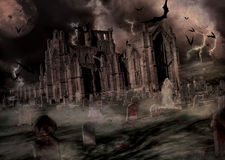 Het kerkhof en de kerk van Halloween Stock Fotografie