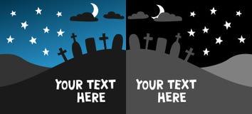 Het kerkhof van achtergrond Halloween malplaatje Royalty-vrije Illustratie