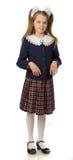 Het kersenmeisje in een eenvormige school stock afbeeldingen