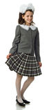 Het kersenmeisje in een eenvormige school stock foto's
