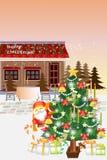 Het Kerstmislandschap van de binnenstad, een boom en een winkel in sneeuwval - Creatieve illustratie eps10 Stock Foto's