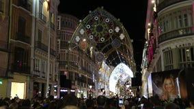Het Kerstmislicht toont in Malaga, Spanje stock footage