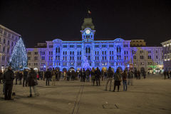 Het Kerstmislicht toont op het Stadhuis bij Piazza dell& x27; UNITA-Di Triëst, Italië Stock Foto's
