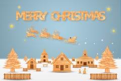 Het Kerstmisseizoen en het Gelukkige nieuwe jaarseizoen maakten van hout met decoratiekunst en ambachtstijl, illustratie Stock Foto