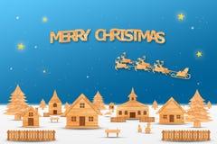 Het Kerstmisseizoen en het Gelukkige nieuwe jaarseizoen maakten van hout met decoratiekunst en ambachtstijl, illustratie Stock Afbeelding
