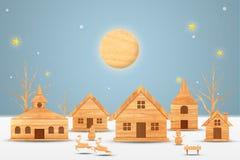 Het Kerstmisseizoen en het Gelukkige nieuwe jaarseizoen maakten van hout met decoratiekunst en ambachtstijl, illustratie stock afbeeldingen