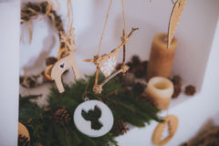 Het Kerstmisspeelgoed stelt Rustieke stijl voor Royalty-vrije Stock Afbeeldingen