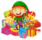 Het Kerstmisthema met elf en velen stelt voor stock illustratie