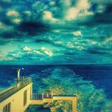 Het kielzog achter een schip Stock Foto's