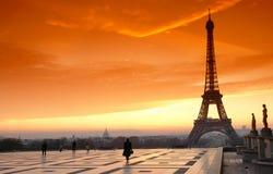 Het kielzog van Parijs omhoog op plaats Trocadero Royalty-vrije Stock Afbeeldingen