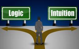 Het kiezen tussen logica of intuïtie vector illustratie