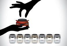 Het kiezen van de beste rode auto van verkoopconcept Royalty-vrije Stock Foto