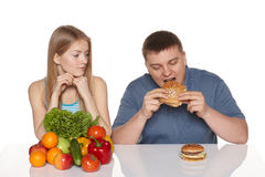 Het kiezen van gezond het eten concept. Royalty-vrije Stock Foto's