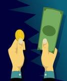 Het kiezen van muntstukken of bankbiljetten Stock Afbeeldingen