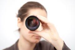 Het kijken door de lens royalty-vrije stock afbeelding