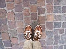 Het kijken neer op de stadsstraten Stock Foto