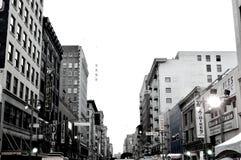 Het kijken omhoog van de binnenstad Stock Foto's