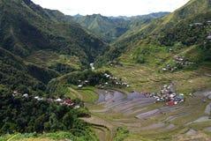 Het kijken onderaan over de Rijstterrassen van Batad in de Filippijnen Royalty-vrije Stock Foto's