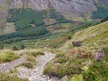Het kijken onderaan puinkegelweg aan hieronder vallei stock afbeelding