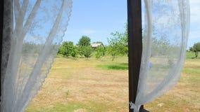 Het kijken uit portiek met gordijnen die in de wind fladderen stock video