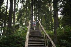 Het kind beklimt een oude houten ladder stock foto's