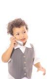 Het kind dat van de peuter op cellphone spreekt Royalty-vrije Stock Afbeeldingen