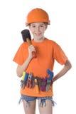 Het kind in een helm   Stock Afbeelding