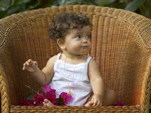 Het kind en de orchidee van de stoel Stock Afbeelding