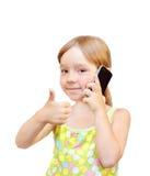 Het kind en de telefoon Stock Foto