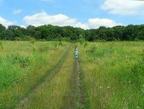 Het kind gaat op het groene gebied weg royalty-vrije stock afbeelding