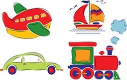 Het kind heeft auto, vliegtuig, schip en trein, vector getrokken Stock Afbeeldingen