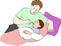 Het kind heeft een koorts en een papa zorg nemen stock illustratie