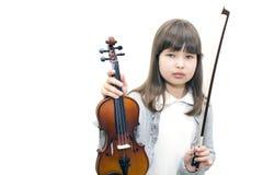 Het kind houdt de viool en het glimlachen niet Stock Afbeeldingen