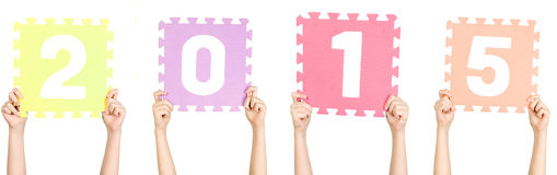 Het kind houdt 2015, nieuw jaarconcept Stock Fotografie
