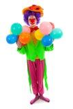 Het kind kleedde zich als kleurrijke grappige clown Royalty-vrije Stock Afbeeldingen